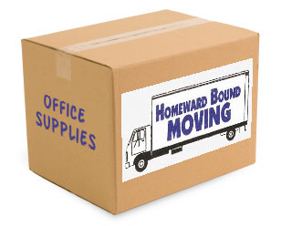 moving box with office supplies